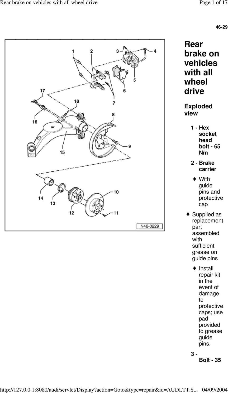 Rear brake on vehicles with all wheel drive - PDF