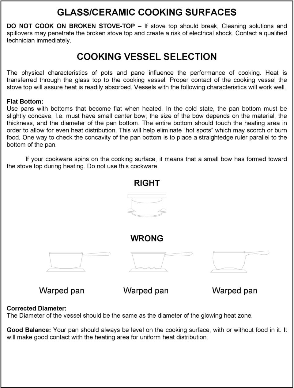 Princess Gourmet Cook Top Owner S Manual Installation Operation Stove Wiring Diagram Heat Is Transferred Through The Glass To Cooking Vessel Proper Contact Of