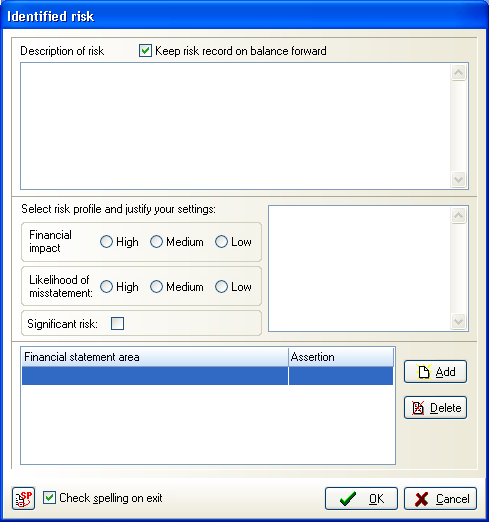 This dialog is completed in the same way as the dialog used to enter an identified risk at client level, but not all fields are mandatory when entering a risk at master level.