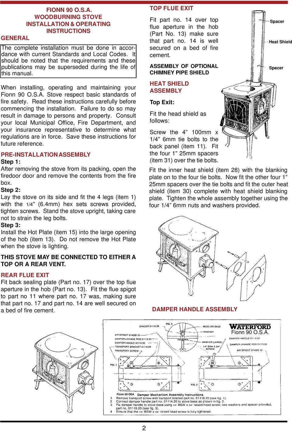 Fionn 90 Osa Woodburning Stove Pdf Robert S Oven Wiring Diagram Respect Basic Standards Of Fire Safety Read These Instructions Carefully Before Commencing The Installation
