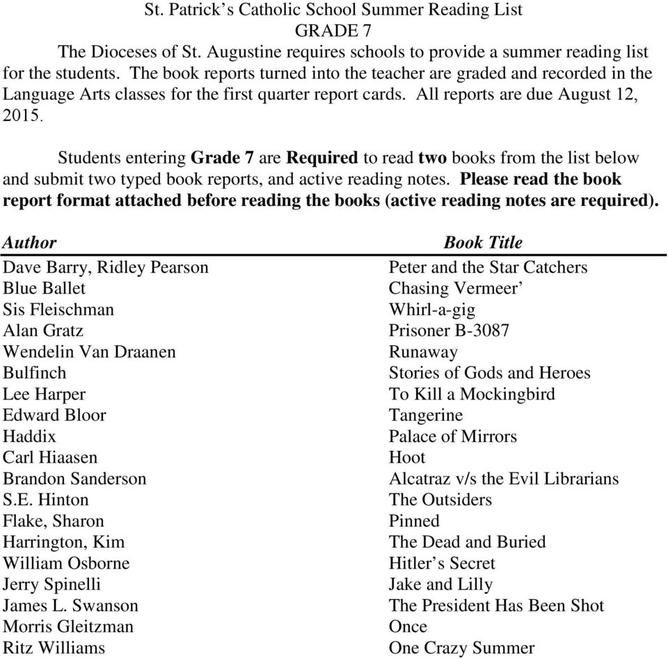 students entering grade 7 are required to read two books from the list below and submit
