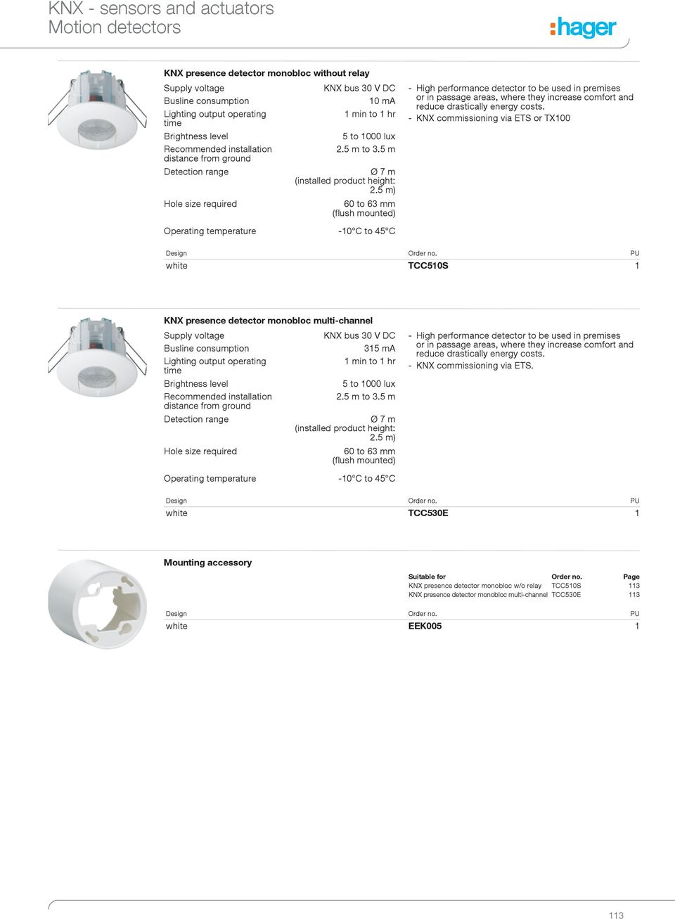 Knx Sensors And Actuators Pdf Lighting Wiring Diagram 5 M 60 To 63 Mm Flush Mounted High Performance Detector