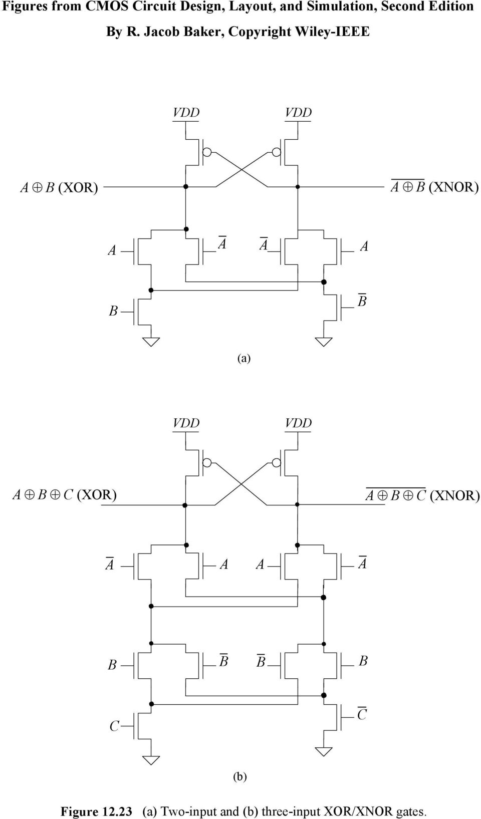 Figures From Cmos Circuit Design Layout And Simulation Second Logic Diagram Xor Xnor B Figure 12