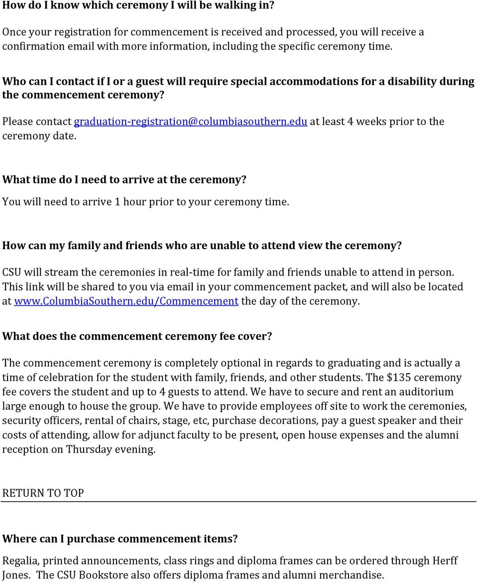 Commencement Frequently Asked Questions - PDF