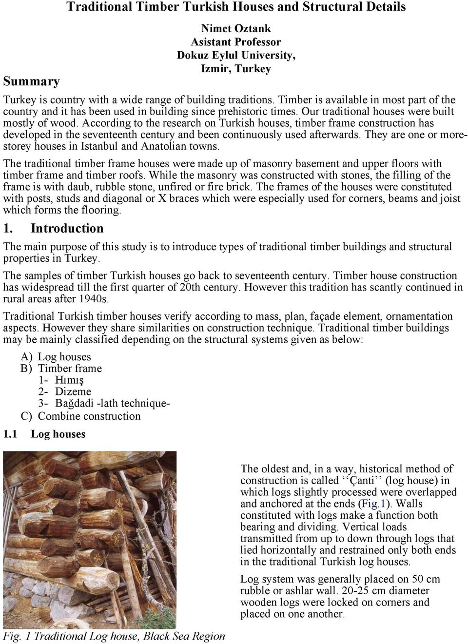 Traditional Timber Turkish Houses and Structural Details - PDF