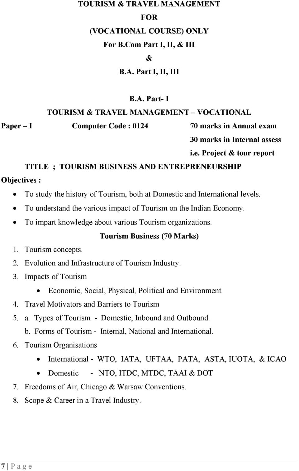 Title : Travel Agencies and Tour Operator s Business