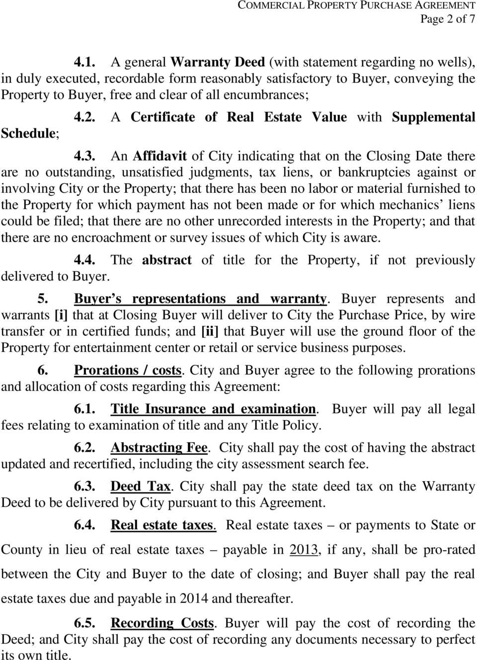 City Of Jackson Minnesota Commercial Property Purchase Agreement Pdf