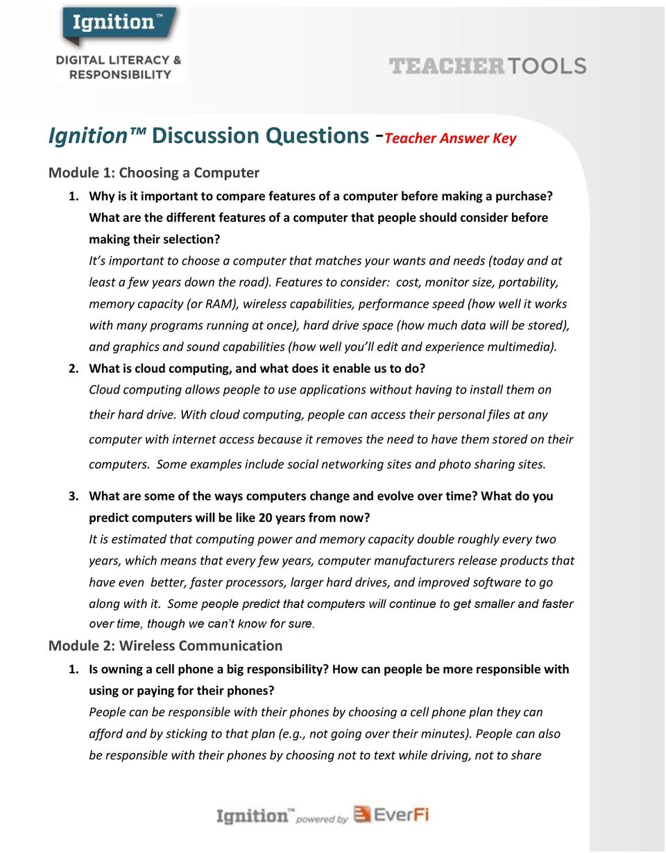 Ignition Discussion Questions - PDF