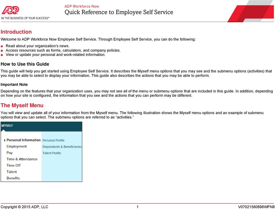 ADP Workforce Now Quick Reference to Employee Self Service - PDF