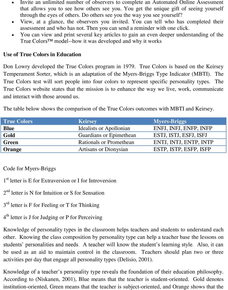 True Colors Personality Test Assessment Analysis Paper For Edf William Cooper Pdf Free Download [ 1218 x 960 Pixel ]