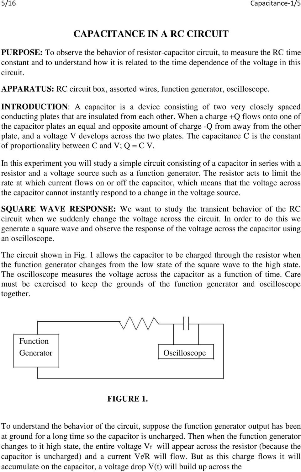 Capacitance In A Rc Circuit Pdf Simple Function Generator Introduction Capacitor Is Device Consisting Of Two Very Closely Spaced Conducting Plates That