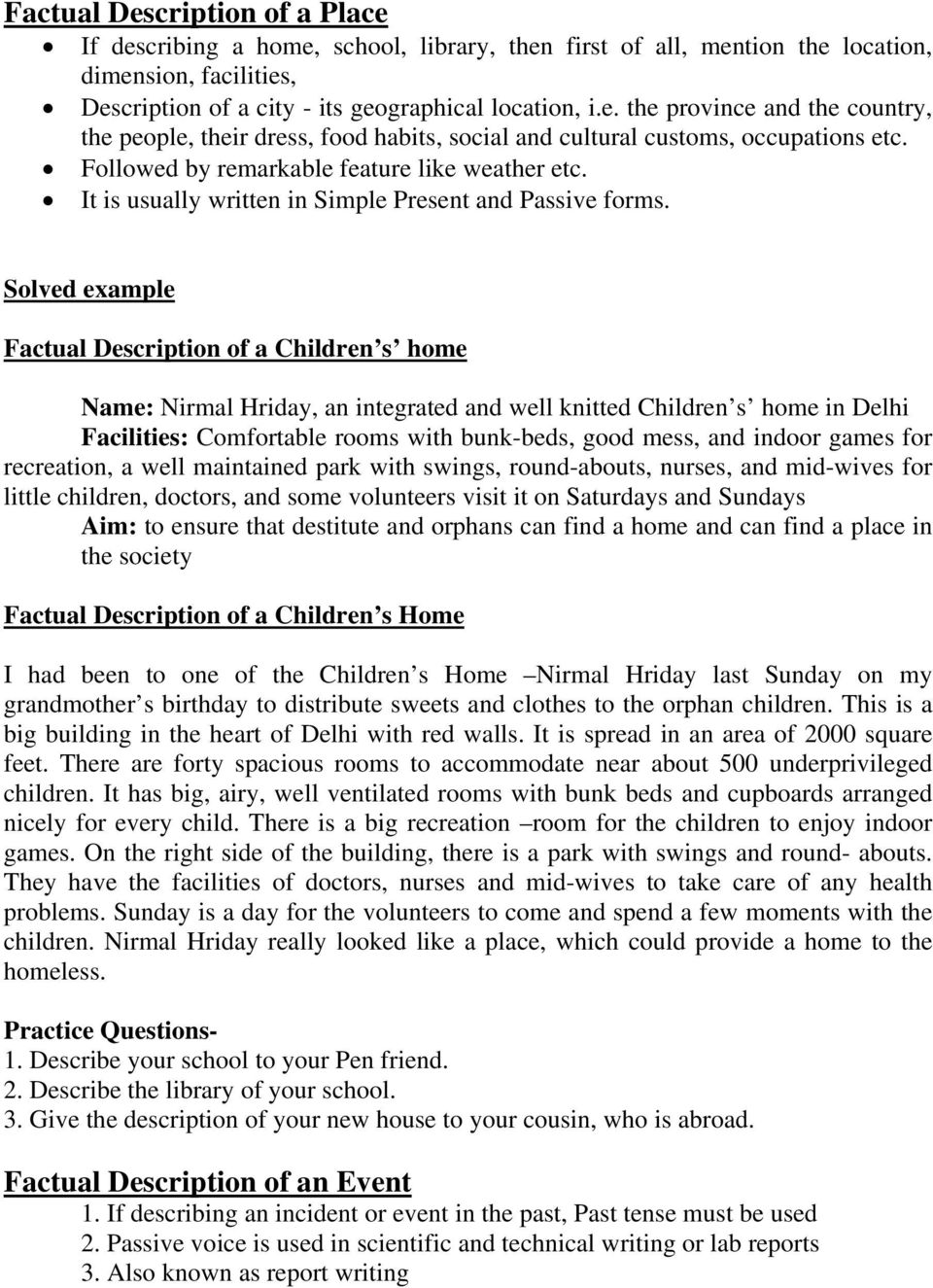 report writing on orphanage visit