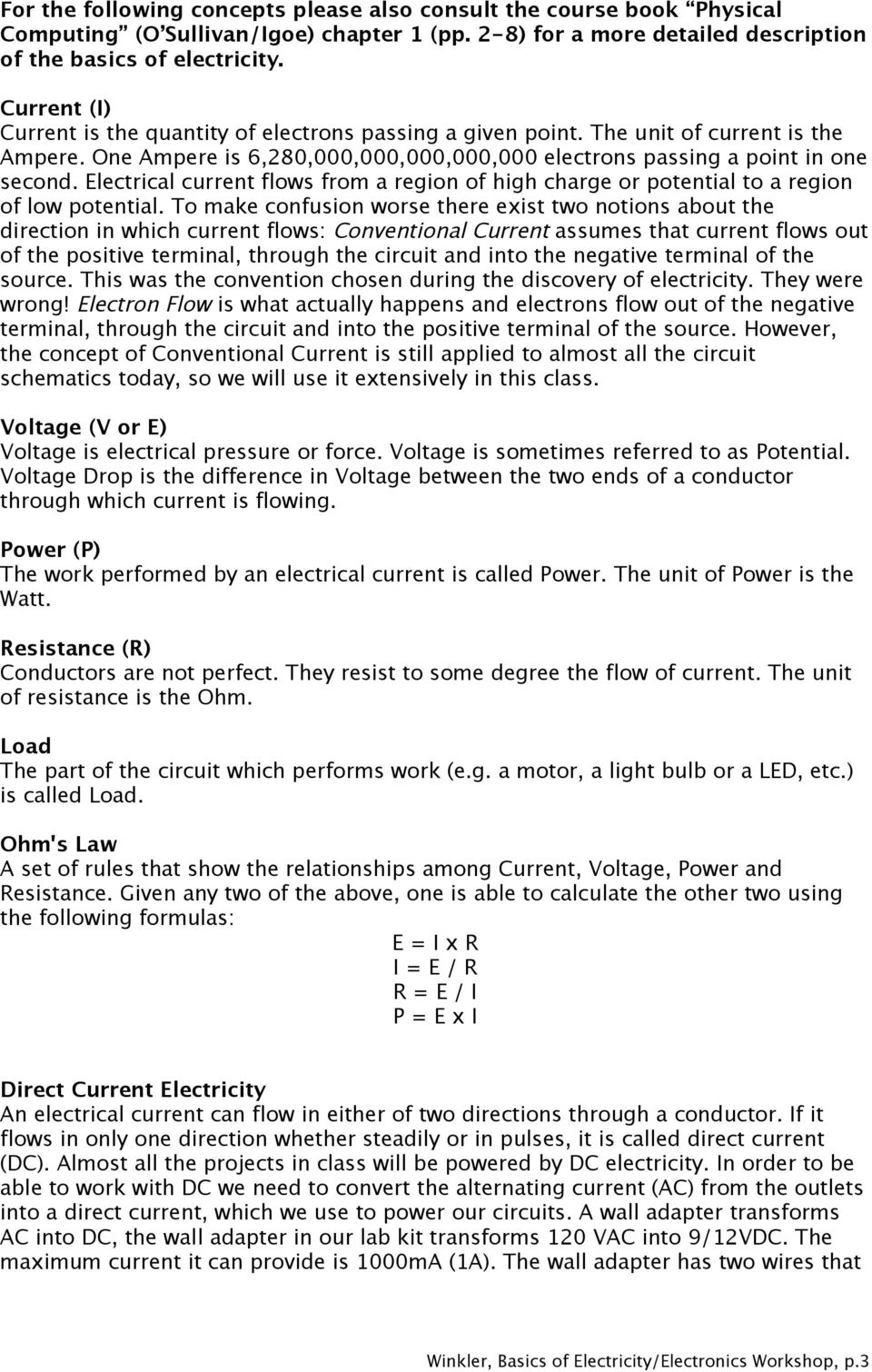 Basics Of Electricity Electronics Fabian Winkler Pdf Picture The Three Electric Circuits Voltage Current Electrical Flows From A Region High Charge Or Potential To Low