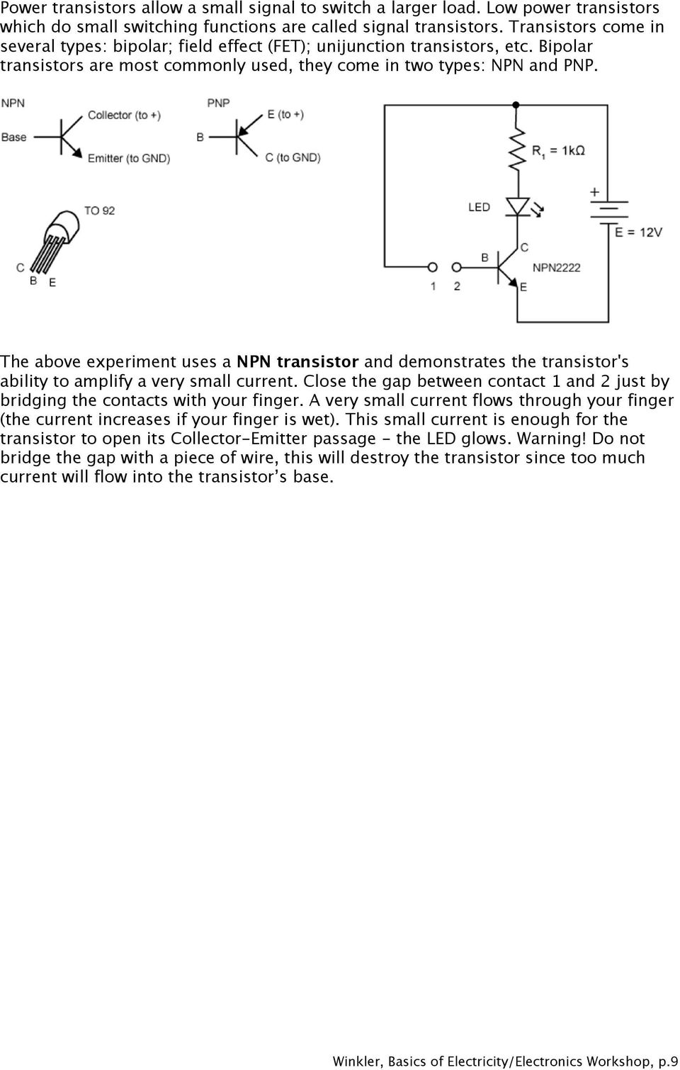 Basics Of Electricity Electronics Fabian Winkler Pdf Max 232n Integrated Circuit Ic Electronic Component Johor End Time 3 The Above Experiment Uses A Npn Transistor And Demonstrates Transistors Ability To Amplify Very
