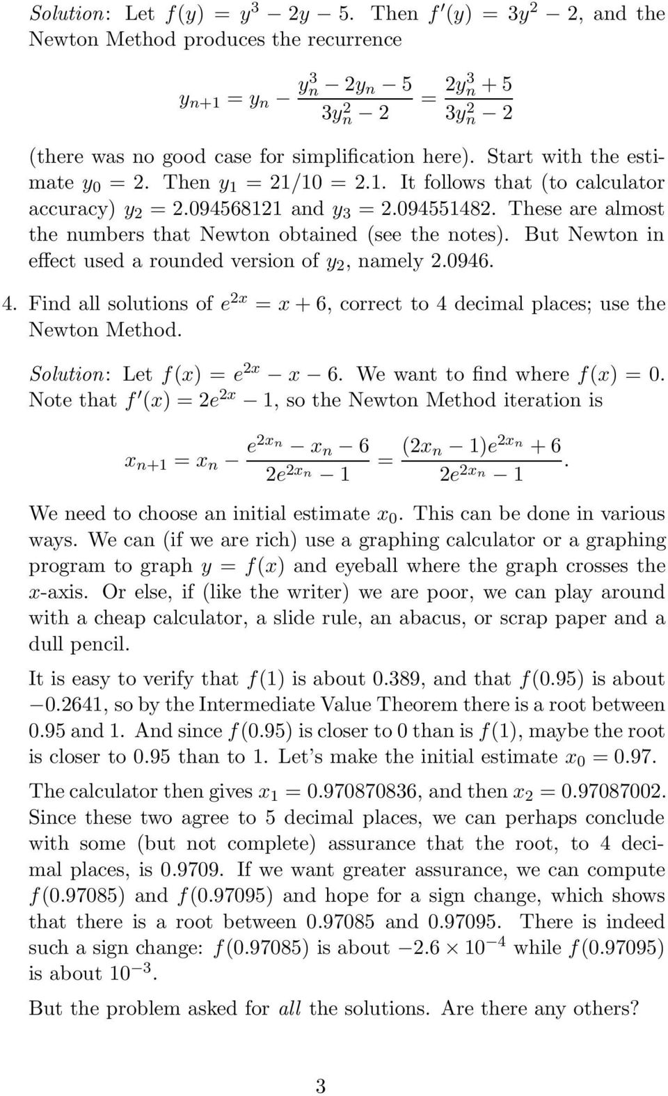 Solutions to Problems on the Newton-Raphson Method - PDF