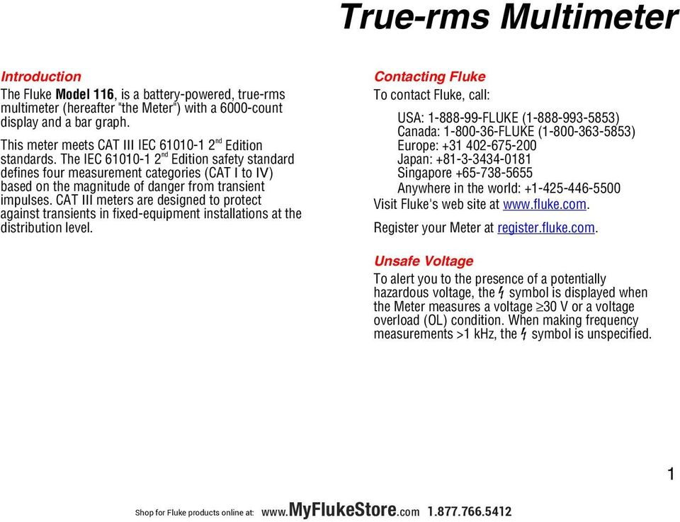 True Rms Multimeter Users Manual Shop For Fluke Products Online At