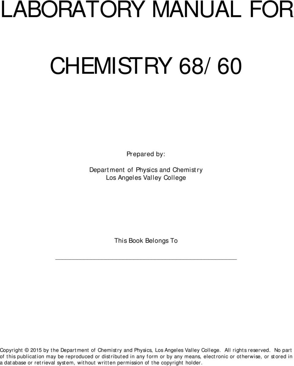 LABORATORY MANUAL FOR CHEMISTRY 68/60 - PDF