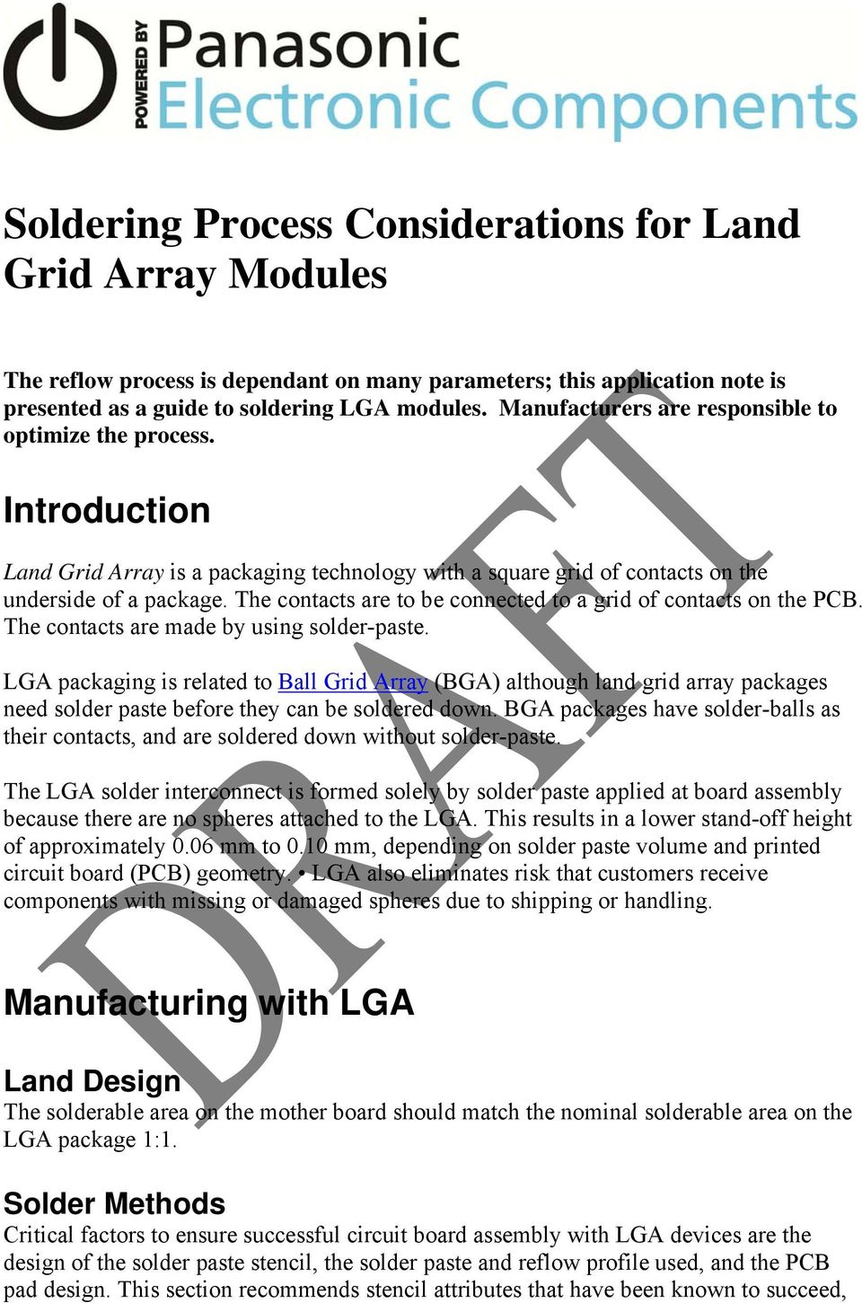 Soldering Process Considerations For Land Grid Array Modules Pdf Leadfree During Printed Circuit Board Manufacturing The Contacts Are To Be Connected A Of On Pcb