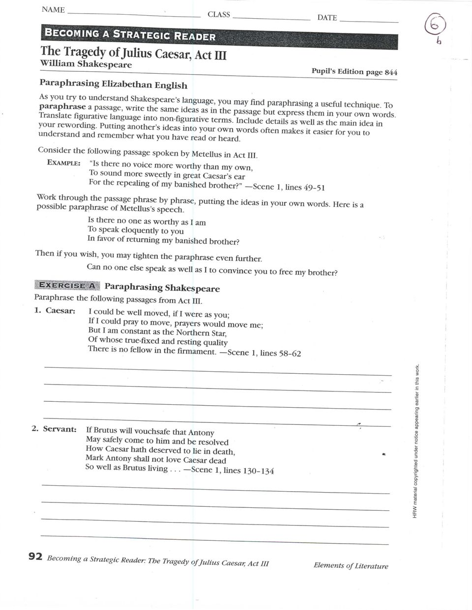 ROMEO AND JULIET STUDY GUIDE ACT 3 - ACT 2 ROMEO AND JULIET