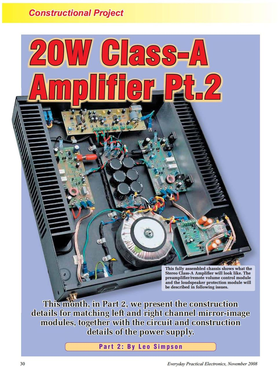 20w Class A Amplifier Module Pdf Circuit Construction Details Electronic Projects 10