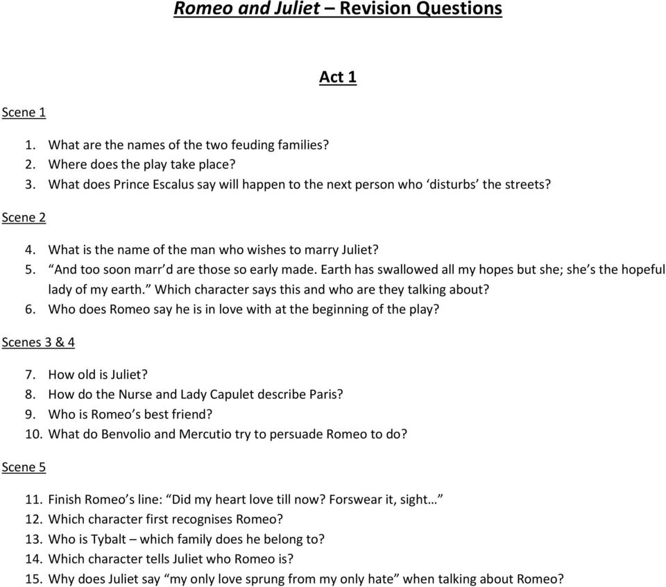 Romeo And Juliet Revision Questions Pdf