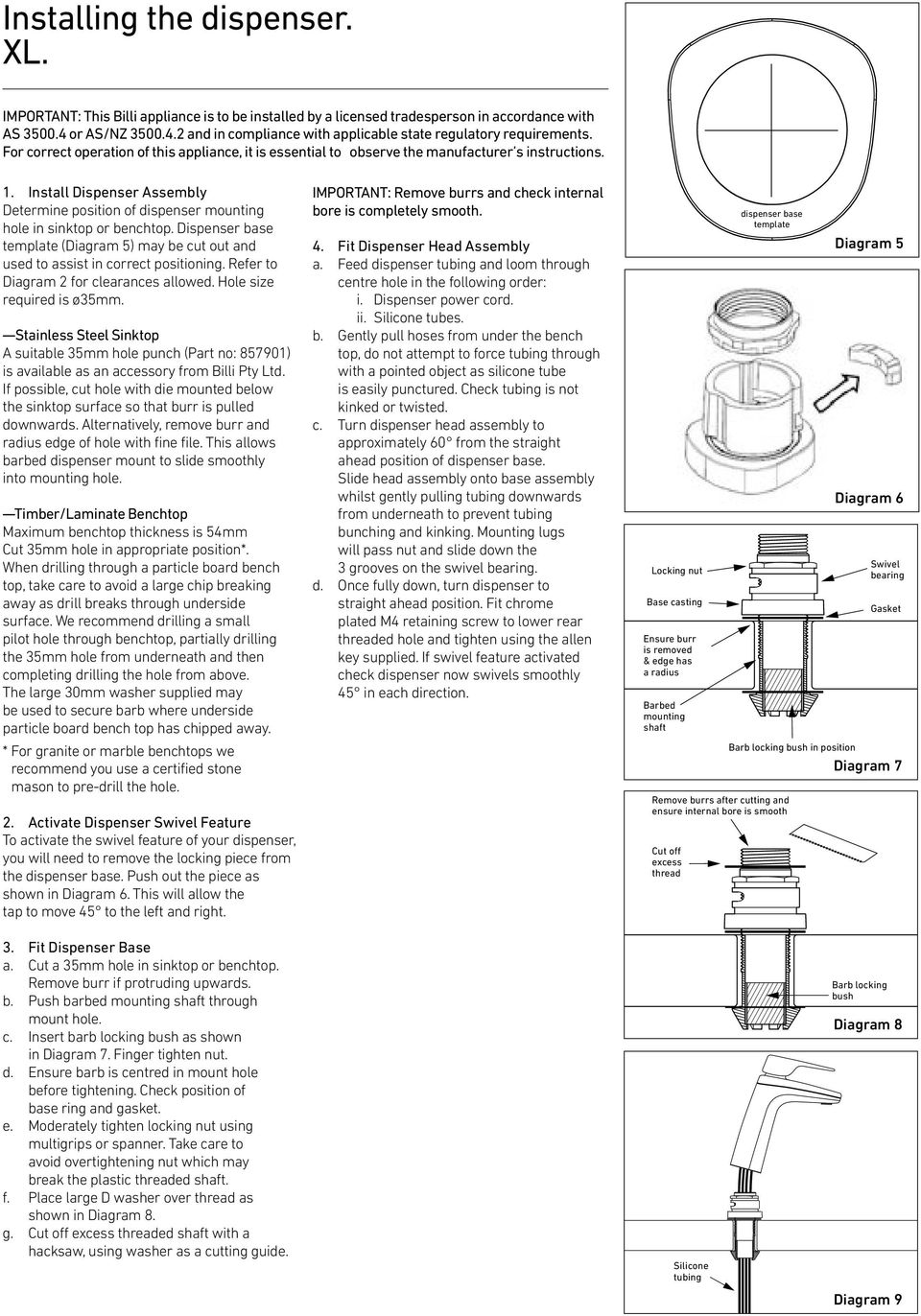 Installation Guide Billi Eco Sparkling Tap Option Xl Pdf In Diagram 7 Below 6 Layout For Roof Level Install Dispenser Assembly Determine Position Of Mounting Hole Sinktop Or Benchtop Base