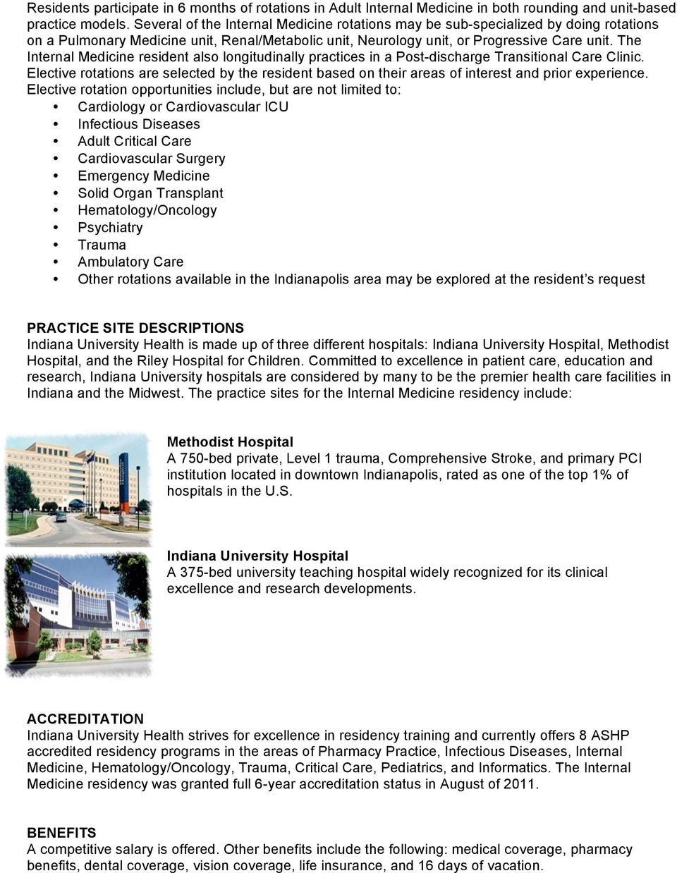 Pharmacy PGY2 Internal Medicine Specialty Residency  Indiana