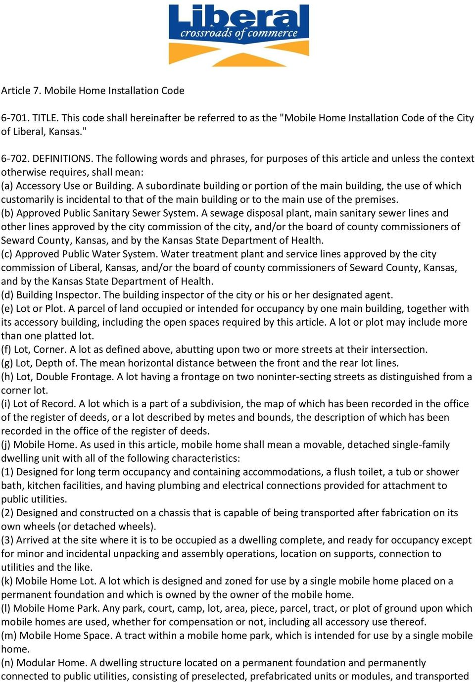 Article 7. Mobile Home Installation Code - PDF on