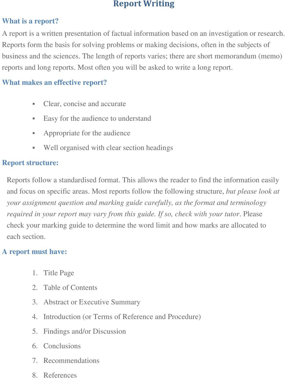 Report Writing  What makes an effective report? - PDF