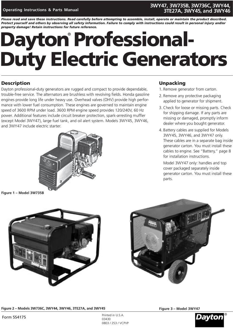 Dayton Professional Duty Electric Generators Pdf Battery Charger Wiring Diagram Failure To Comply With Instructions Could Result In Personal Injury And Or Property Damage
