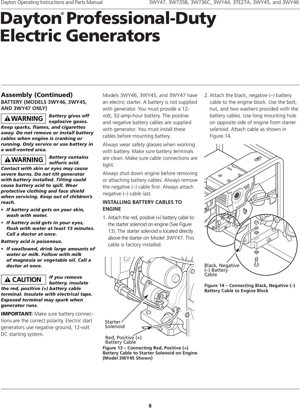 Dayton Professional Duty Electric Generators Pdf Battery Charger Wiring Diagram Contains Sulfuric Acid Contact With Skin Or Eyes May Cause Severe Burns Do
