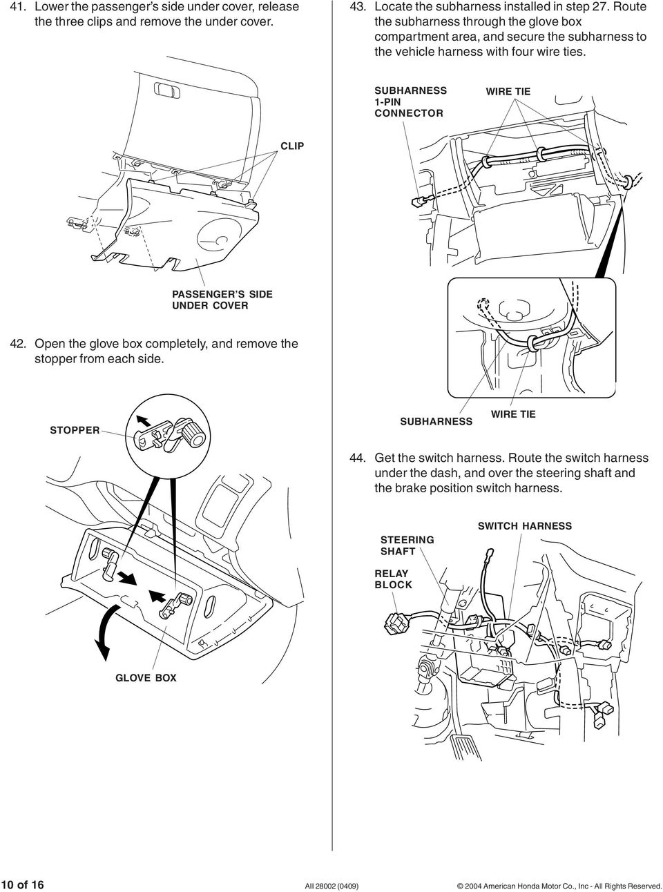 Installation Instructions Pdf Wiring Harness Clips Removal Sub 1 Pin Clip Passenger S Side Under Cover 42 Open The Glove Box