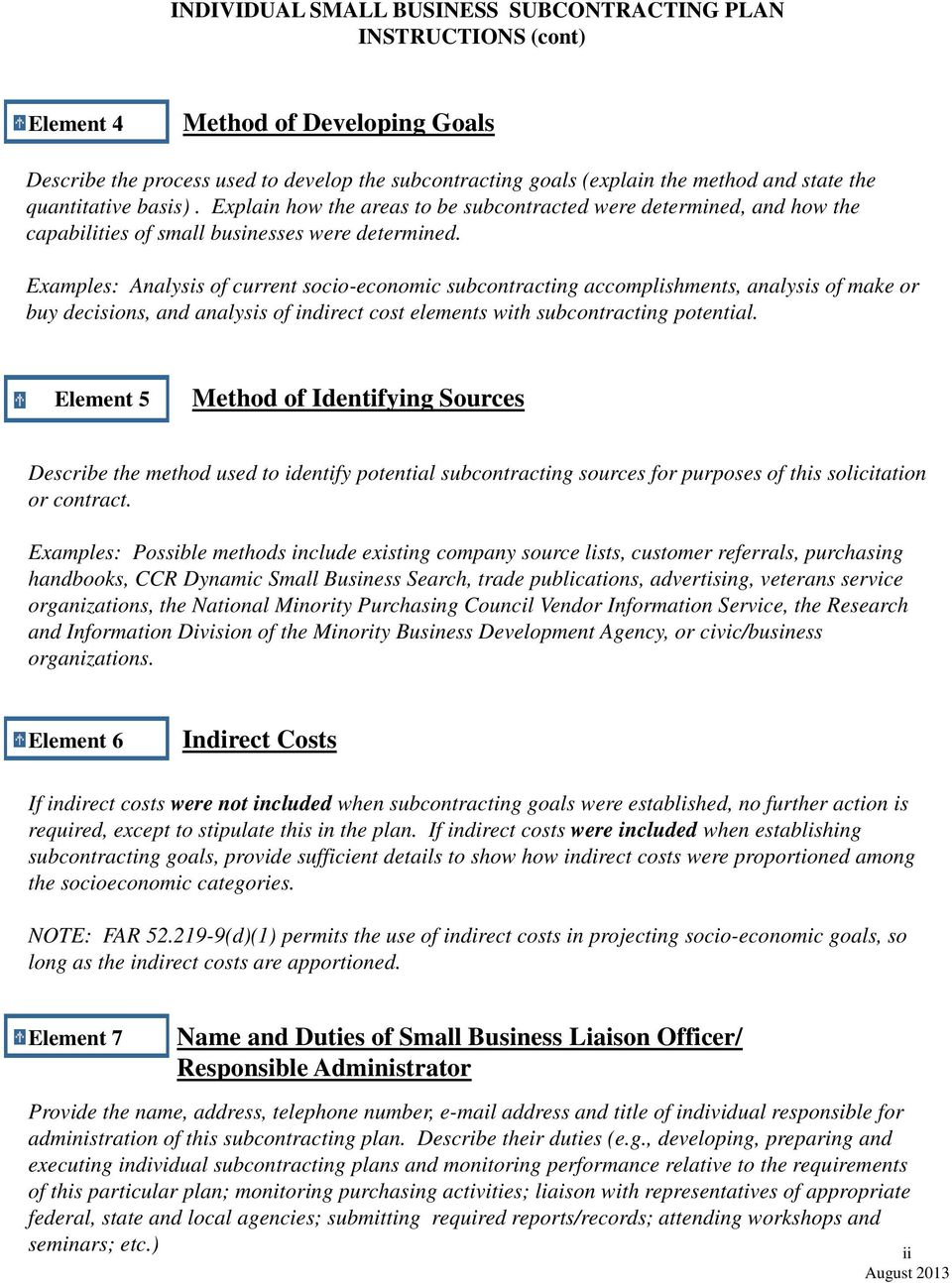 INDIVIDUAL SMALL BUSINESS SUBCONTRACTING PLAN INSTRUCTIONS