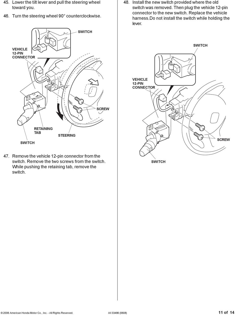 Installation Instructions Pdf Rib Harness Clip Wiring Do Not Install The Switch While Holding Lever Vehicle 12 Pin