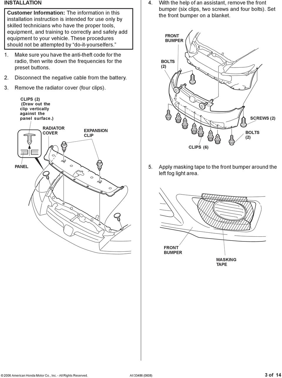 Installation Instructions Pdf Rib Harness Clip Wiring Make Sure You Have The Anti Theft Code For Radio Then Write Down