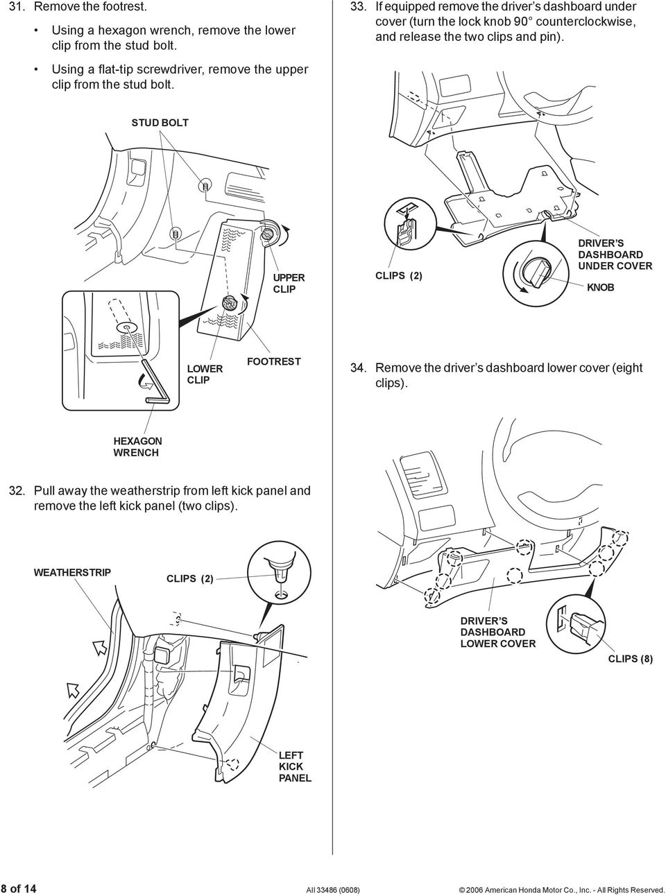 Installation Instructions Pdf Rib Harness Clip Wiring Stud Bolt Upper Clips 2 Driver S Dashboard Under Cover Knob 5202112t Lower