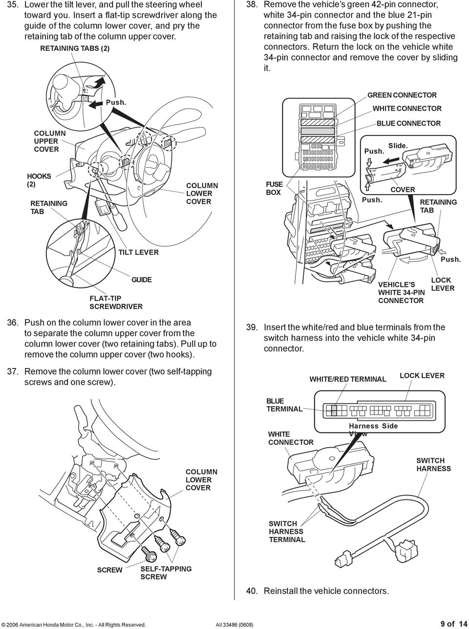 Installation Instructions Pdf Toyota Pickup Fuse Box Removal Remove The Vehicle S Green 42 Pin Connector White 34 And