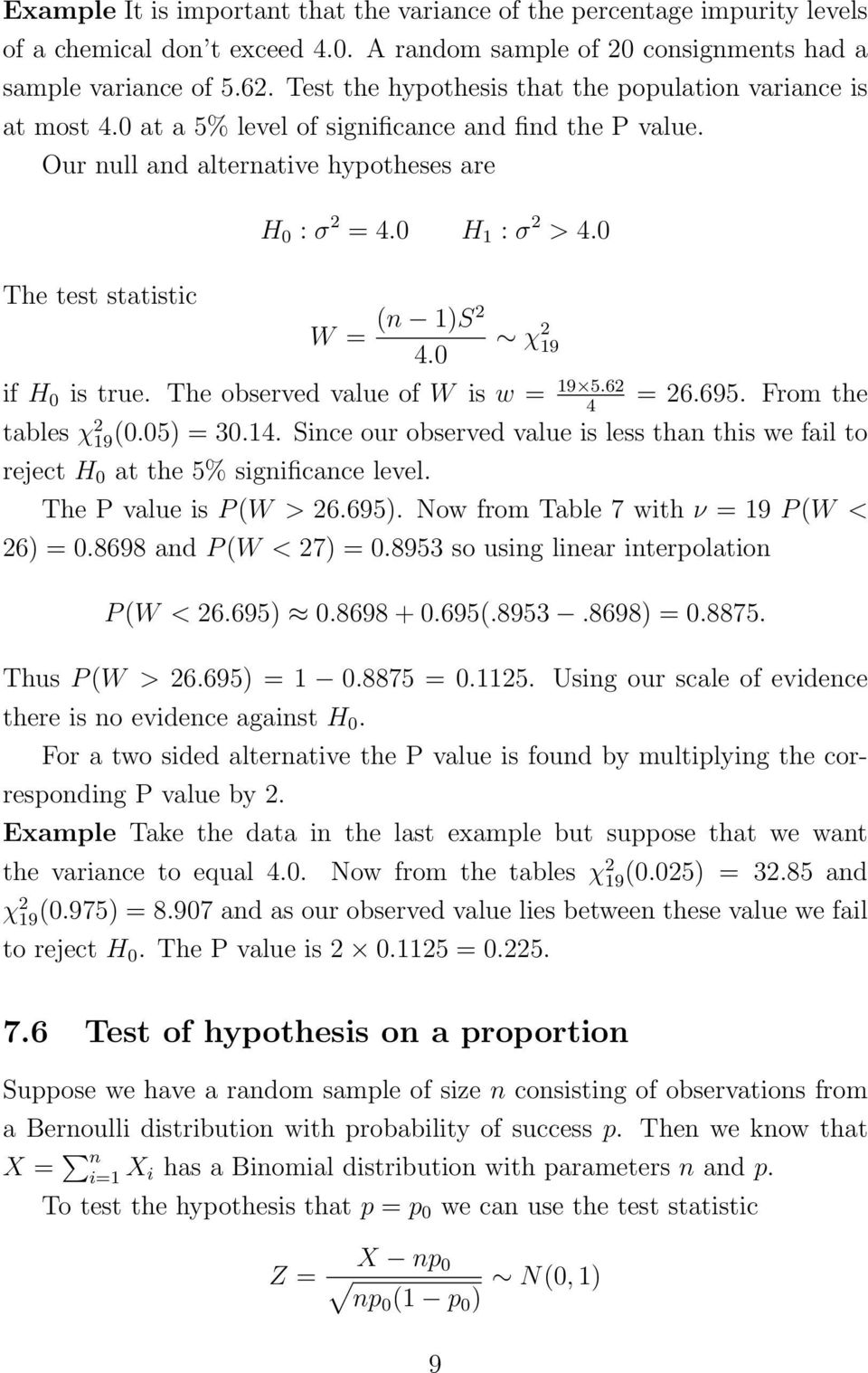 7 Hypothesis testing - one sample tests - PDF