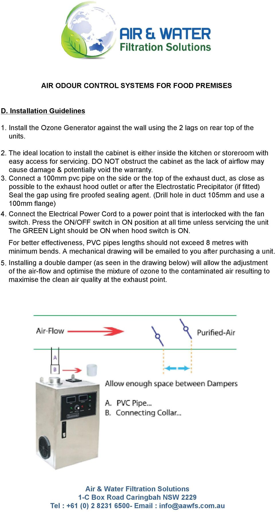 Air Odour Control Systems For Food Premises Ozone Generator Oz 03 Circuit Plate Kit Do Not Obstruct The Cabinet As Lack Of Airflow May Cause Damage Potentially Void