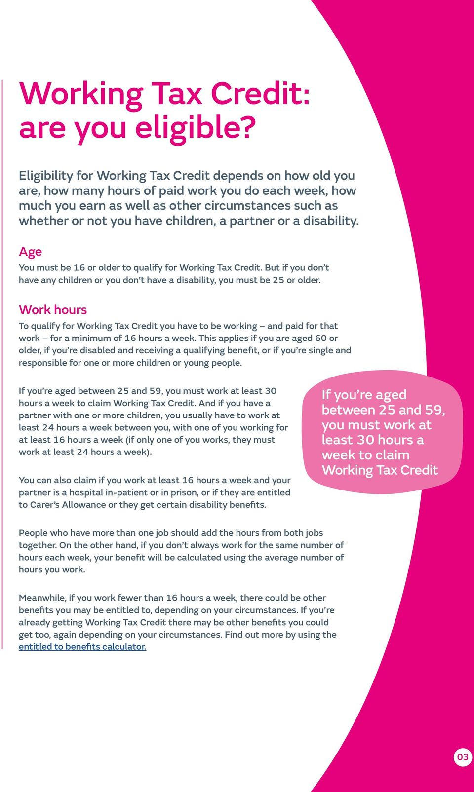 How old to claim working tax credits