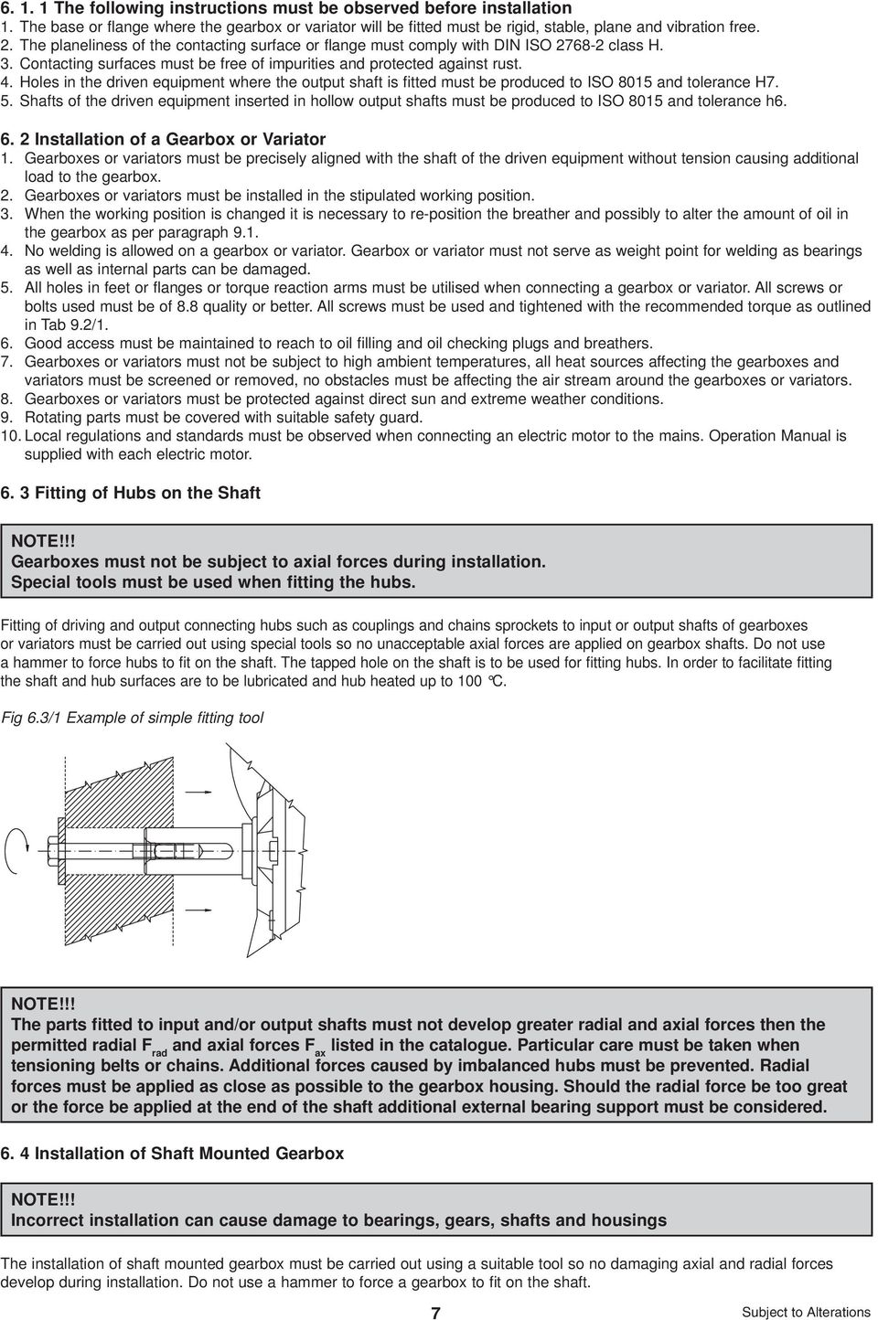 INSTALLATION, OPERATION AND MAINTENANCE MANUAL FOR GEARBOXES