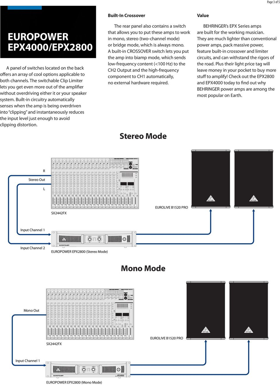 Europower Epx4000 Epx Pdf Behringer Crossover Wiring Diagram Built In Circuitry Automatically Senses When The Amp Is Being Overdriven Into Clipping And Instantaneously