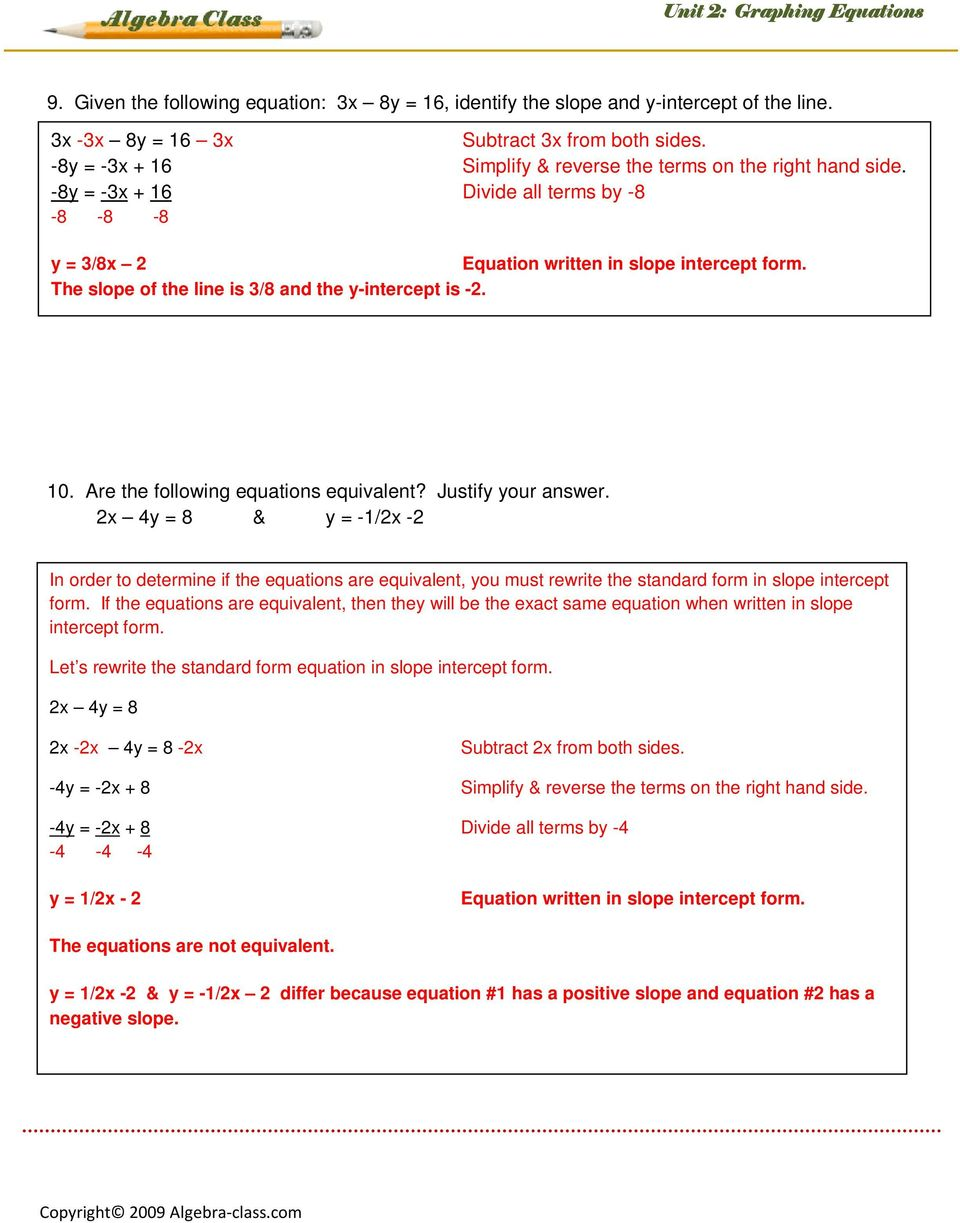 Lesson 9 Graphing Standard Form Equations Lesson 2 Of 2 Example 1