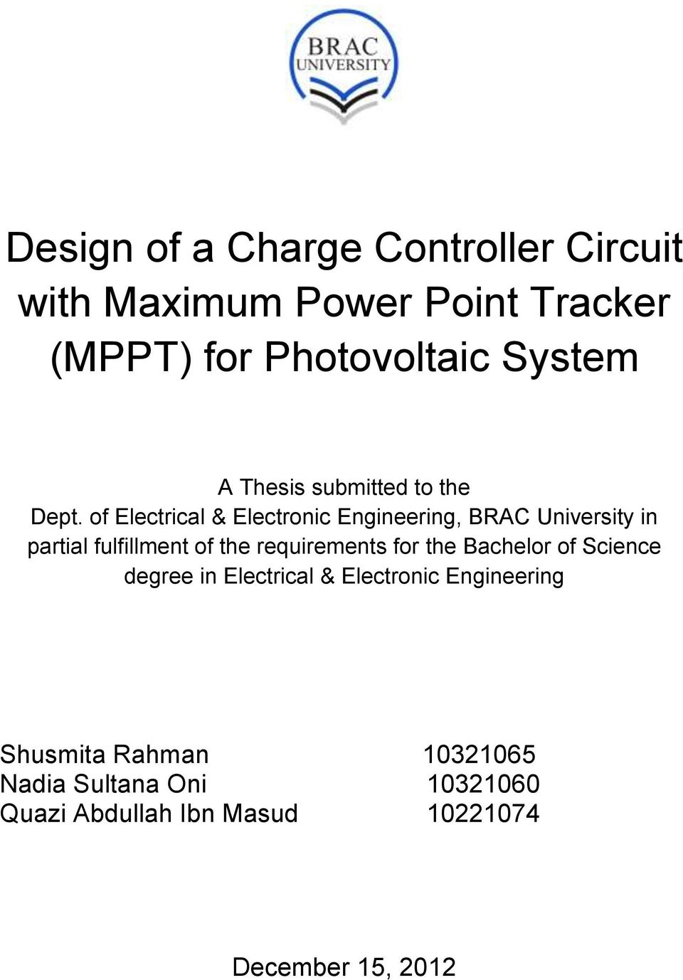 Design Of A Charge Controller Circuit With Maximum Power Point Programmable Tracking For Photovoltaic Electrical Electronic Engineering Brac University In Partial Fulfillment The Requirements