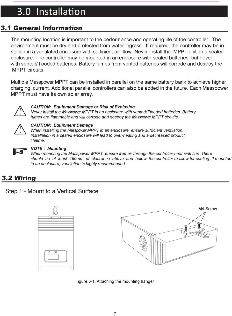 Masspower Mppt Solar Charge Controller Installation And Operation Schematic Diagram Together With Circuit The May Be Mounted In An Enclosure Sealed Batteries But Never Vented