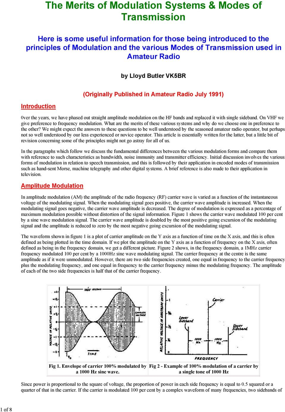 The Merits Of Modulation Systems Modes Transmission Pdf Frequency Fm Tutorial Electronics Modulator On Vhf We Give Preference To What Are