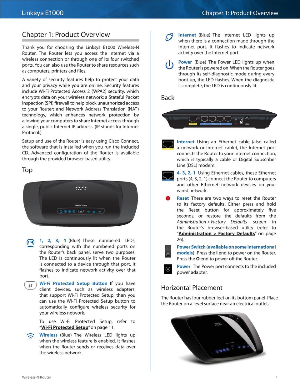 Linksys E1000 Wireless-N Router  User Guide - PDF