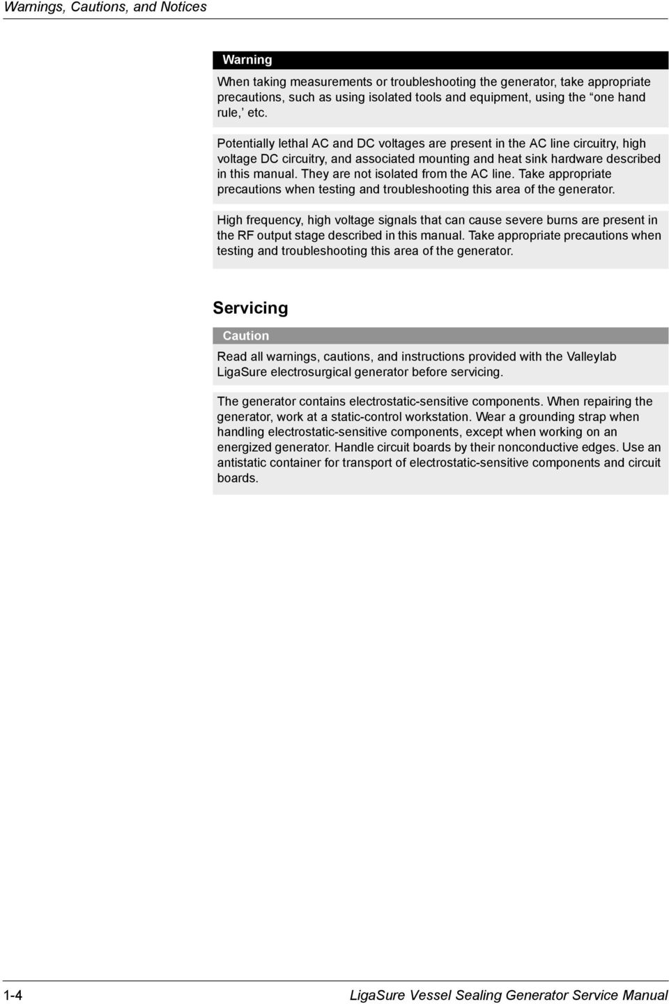 Service Manual. LigaSure Vessel Sealing Generator - PDF on