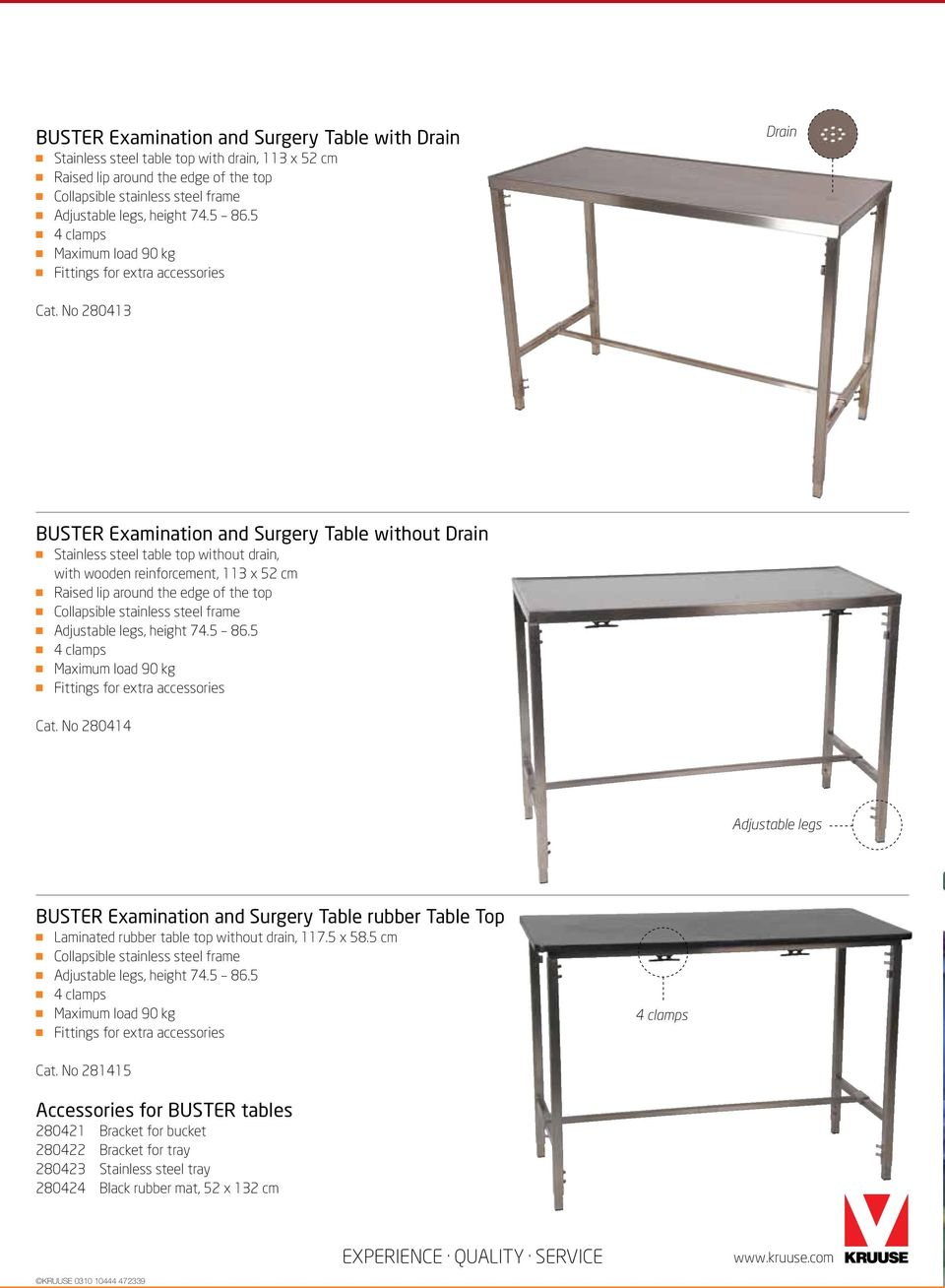 KRUUSE Small Animal Tables PDF - Stainless steel table with lip