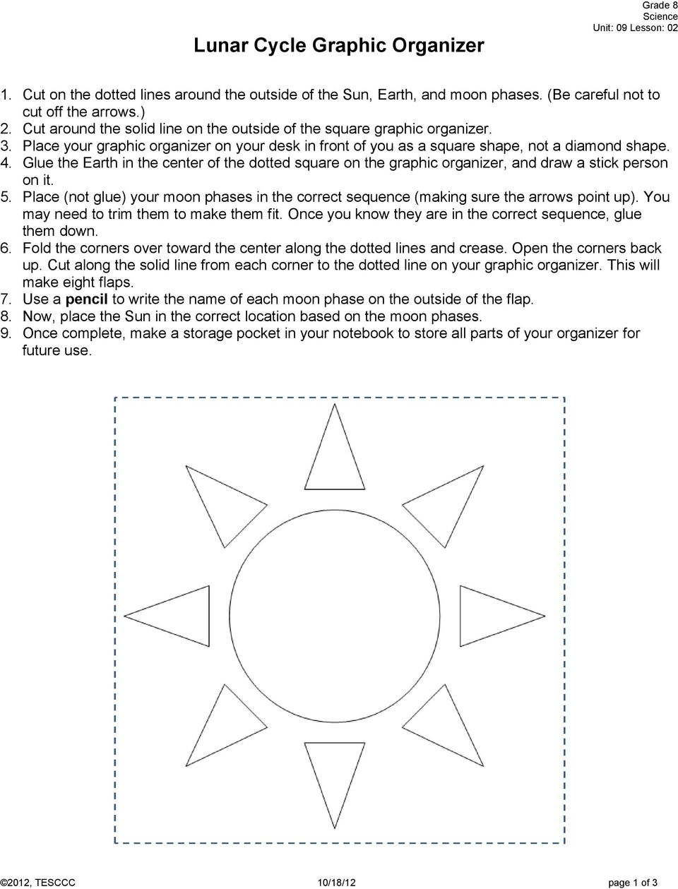 Science Grade 08 Unit 09 Exemplar Lesson 02 Phases And Eclipses Pdf Moon Diagram Phase Glue The Earth In Center Of Dotted Square On Graphic Organizer